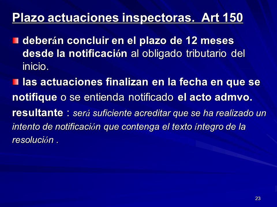 Plazo actuaciones inspectoras. Art 150
