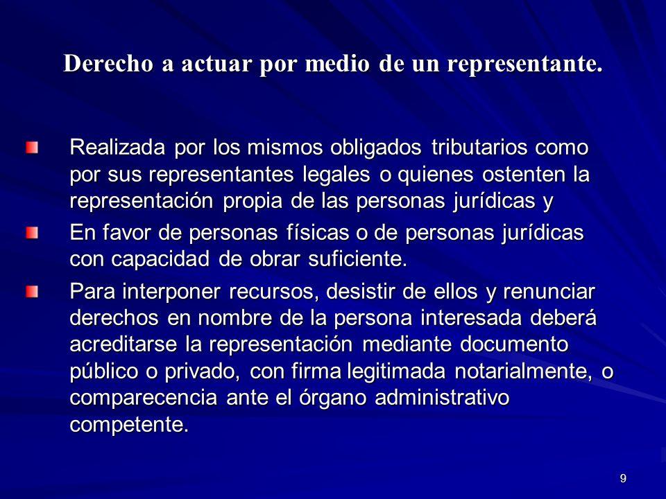 Derecho a actuar por medio de un representante.