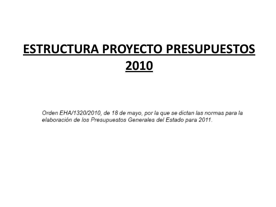 ESTRUCTURA PROYECTO PRESUPUESTOS 2010