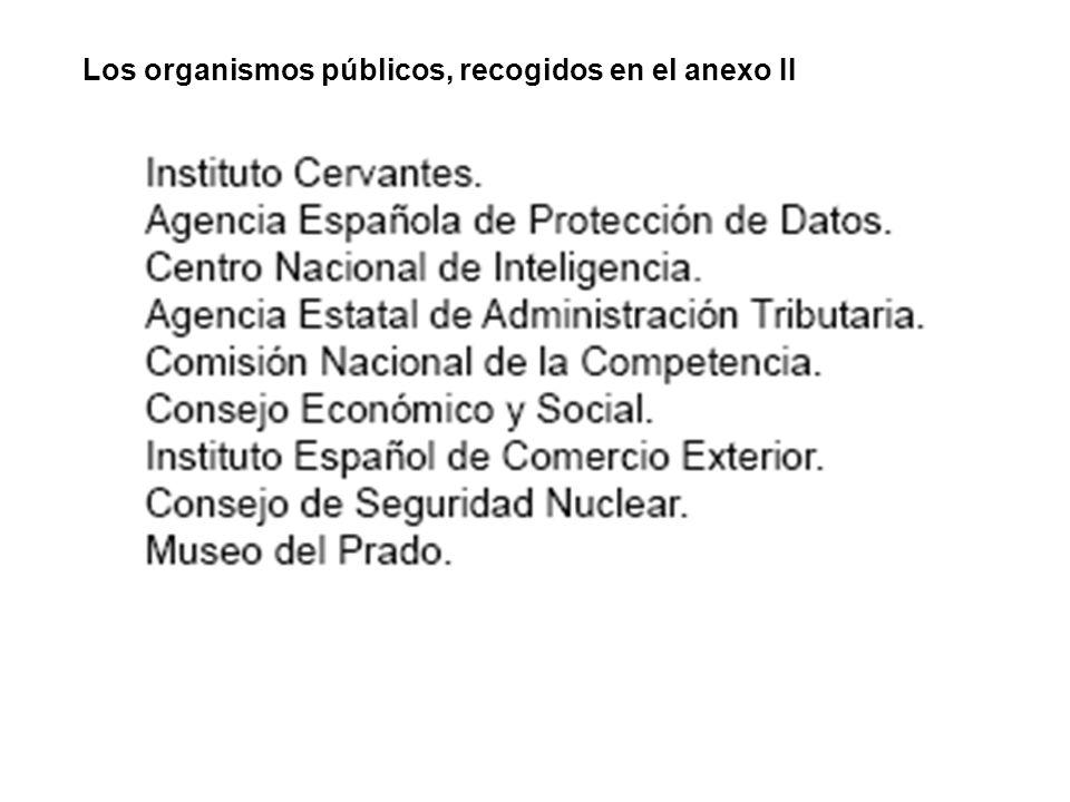 Los organismos públicos, recogidos en el anexo II