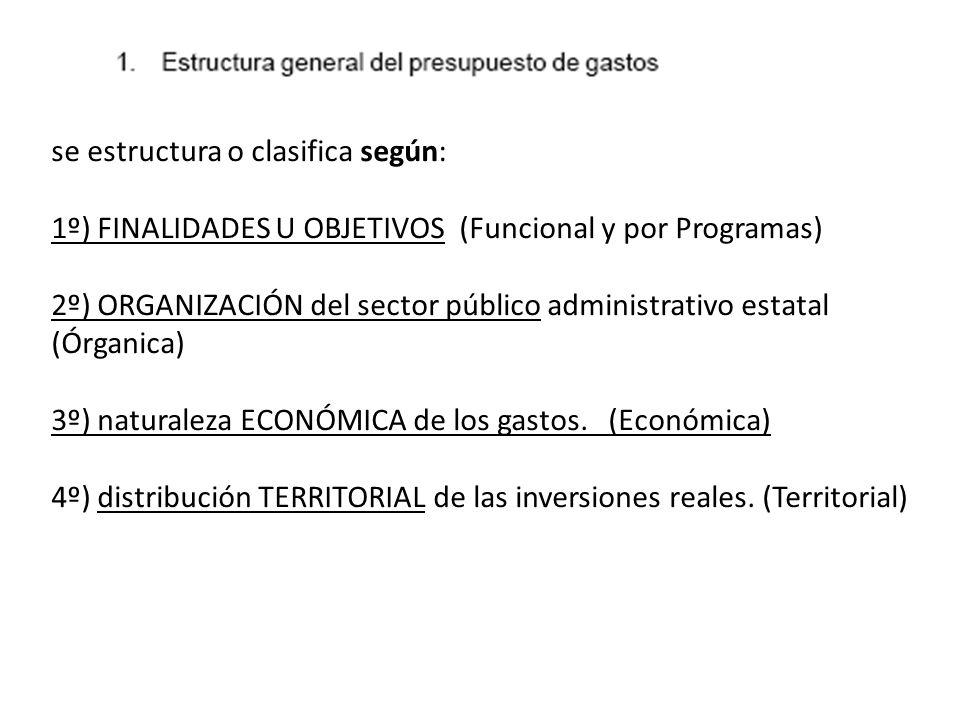se estructura o clasifica según: 1º) FINALIDADES U OBJETIVOS (Funcional y por Programas)