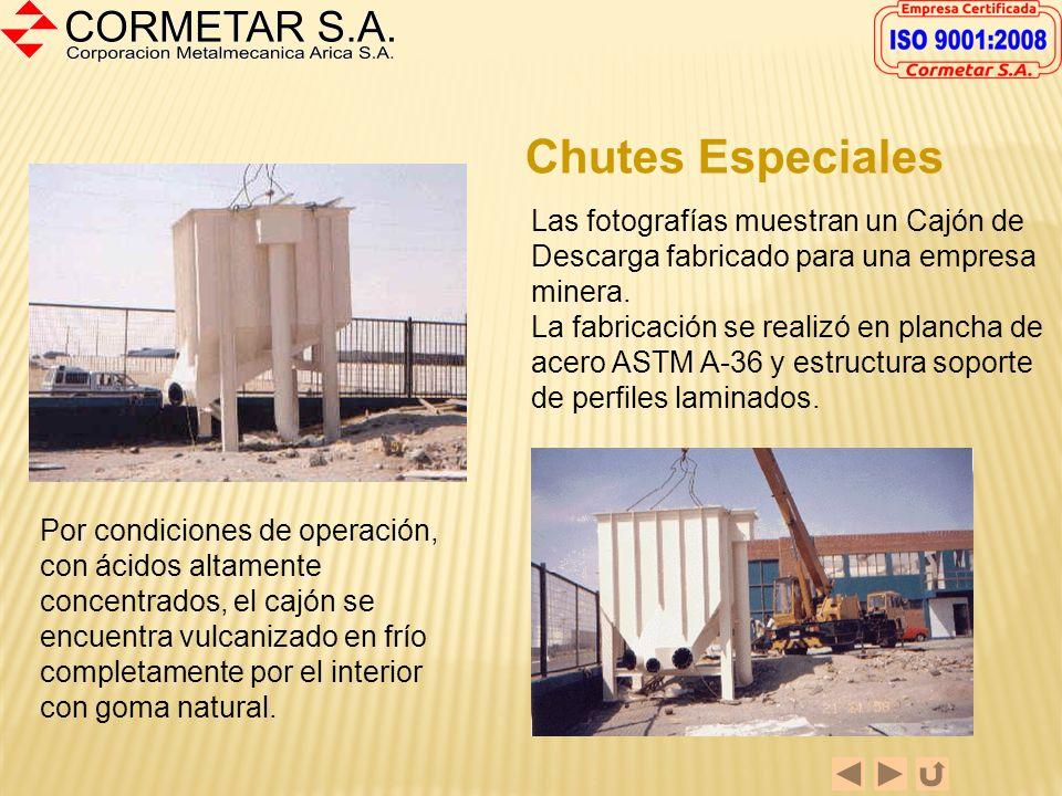 Chutes Especiales Las fotografías muestran un Cajón de Descarga fabricado para una empresa minera.