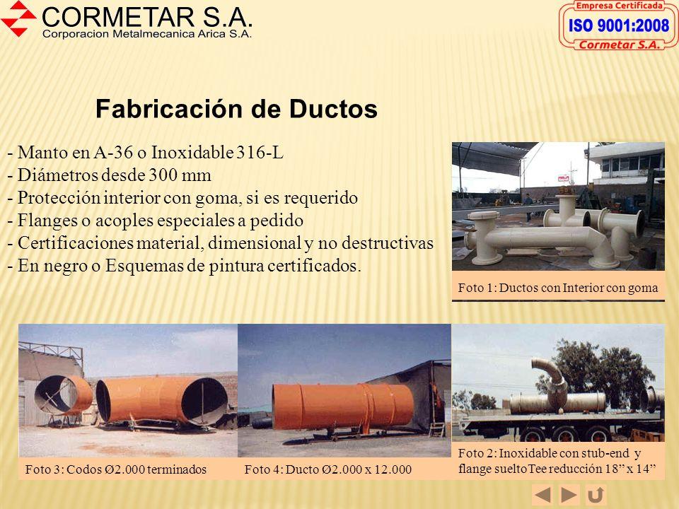 Fabricación de Ductos - Manto en A-36 o Inoxidable 316-L