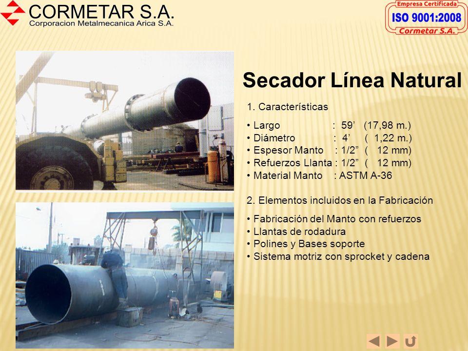 Secador Línea Natural 1. Características Largo : 59' (17,98 m.)