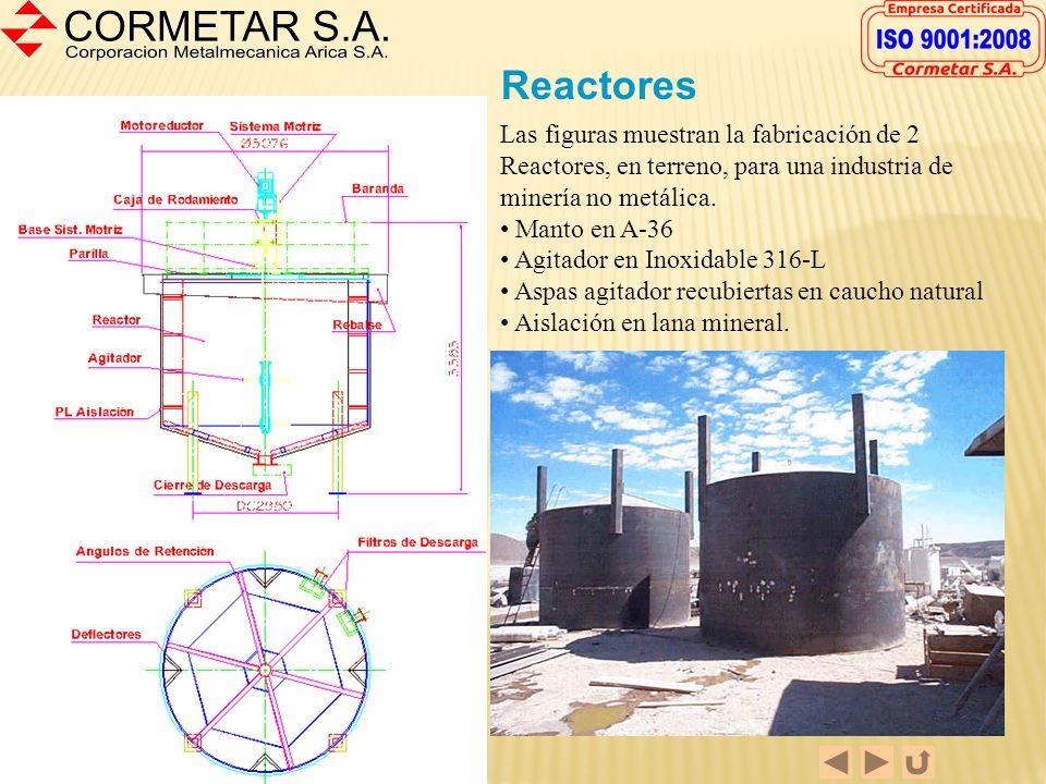 Reactores Las figuras muestran la fabricación de 2 Reactores, en terreno, para una industria de minería no metálica.