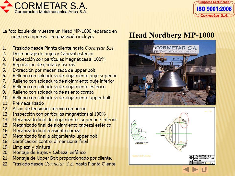 La foto izquierda muestra un Head MP-1000 reparado en nuestra empresa