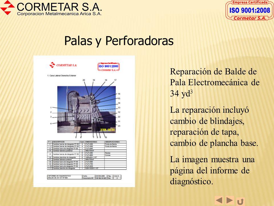Palas y Perforadoras Reparación de Balde de Pala Electromecánica de 34 yd3.