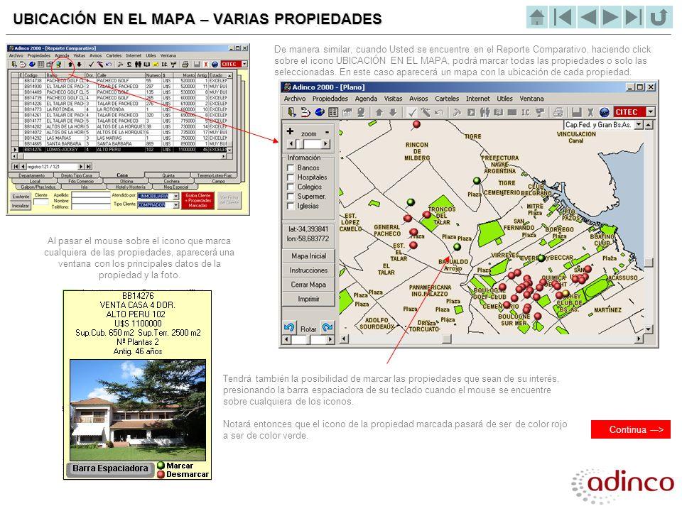 UBICACIÓN EN EL MAPA – VARIAS PROPIEDADES