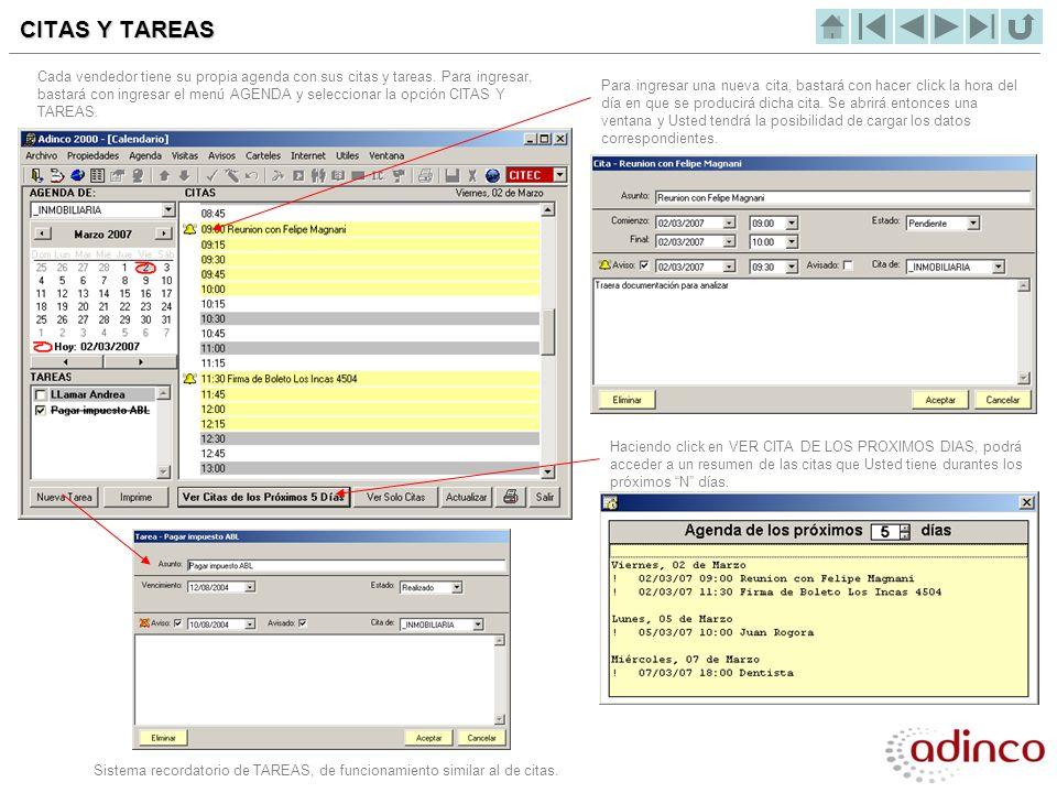 Sistema recordatorio de TAREAS, de funcionamiento similar al de citas.