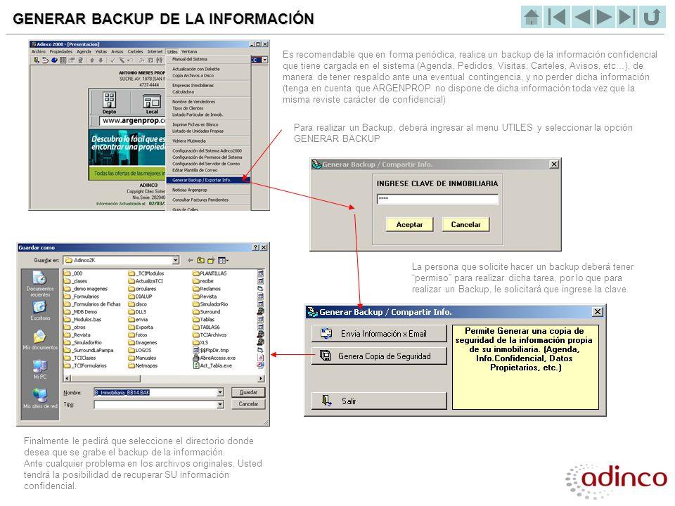 GENERAR BACKUP DE LA INFORMACIÓN