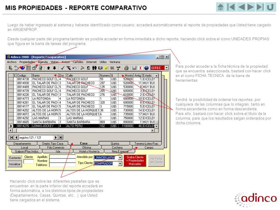 MIS PROPIEDADES - REPORTE COMPARATIVO