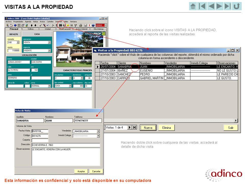 VISITAS A LA PROPIEDAD Haciendo click sobre el icono VISITAS A LA PROPIEDAD, accederá al reporte de las visitas realizadas.