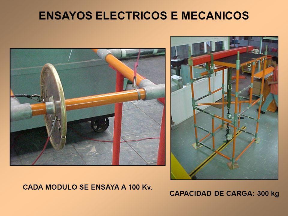 ENSAYOS ELECTRICOS E MECANICOS CADA MODULO SE ENSAYA A 100 Kv.