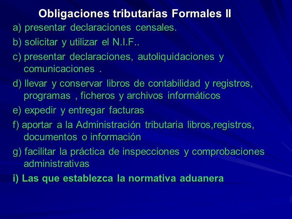 Obligaciones tributarias Formales II