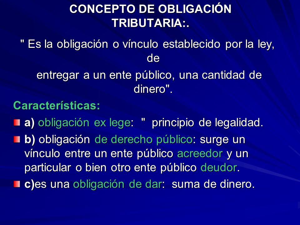 CONCEPTO DE OBLIGACIÓN TRIBUTARIA:.