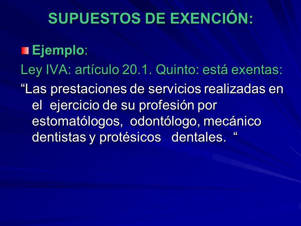 SUPUESTOS DE EXENCIÓN:
