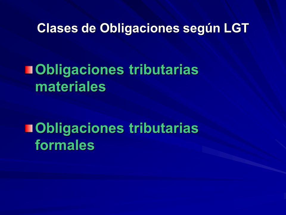 Clases de Obligaciones según LGT