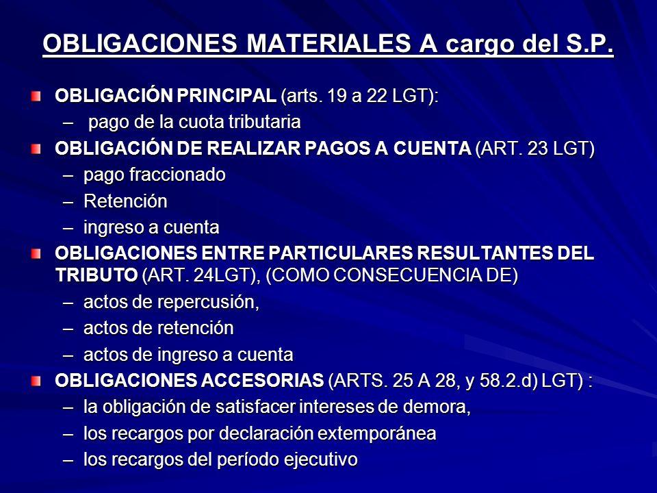 OBLIGACIONES MATERIALES A cargo del S.P.
