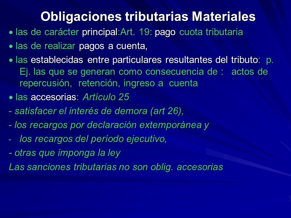 Obligaciones tributarias Materiales