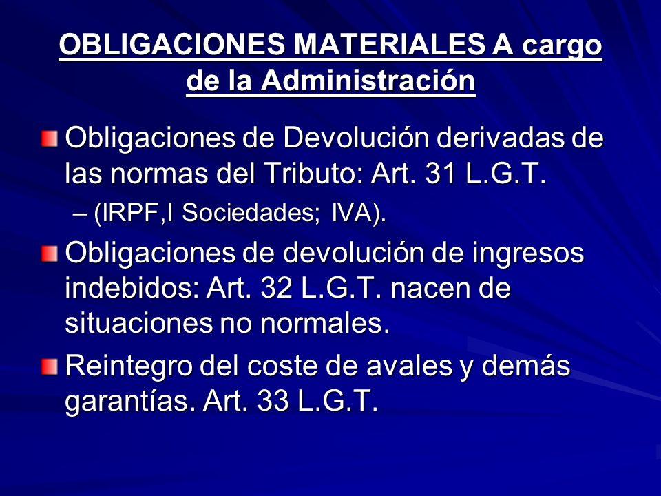 OBLIGACIONES MATERIALES A cargo de la Administración