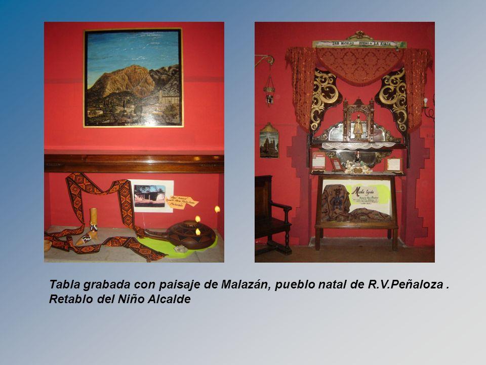 Tabla grabada con paisaje de Malazán, pueblo natal de R.V.Peñaloza .