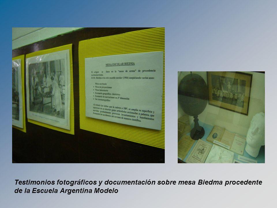 Testimonios fotográficos y documentación sobre mesa Biedma procedente de la Escuela Argentina Modelo
