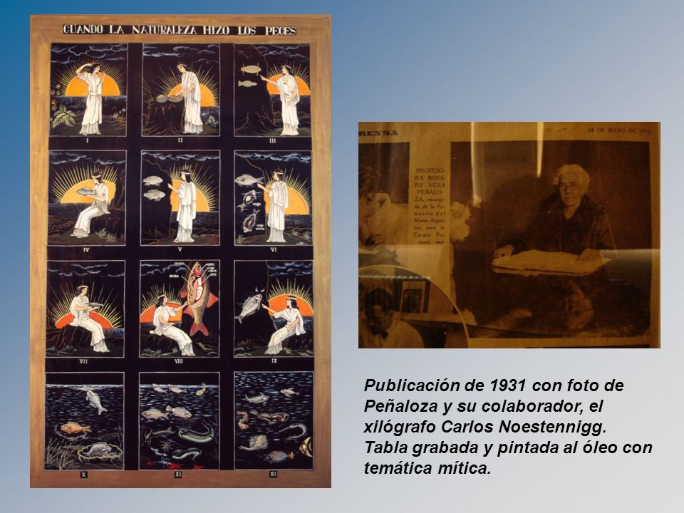 Publicación de 1931 con foto de Peñaloza y su colaborador, el xilógrafo Carlos Noestennigg.