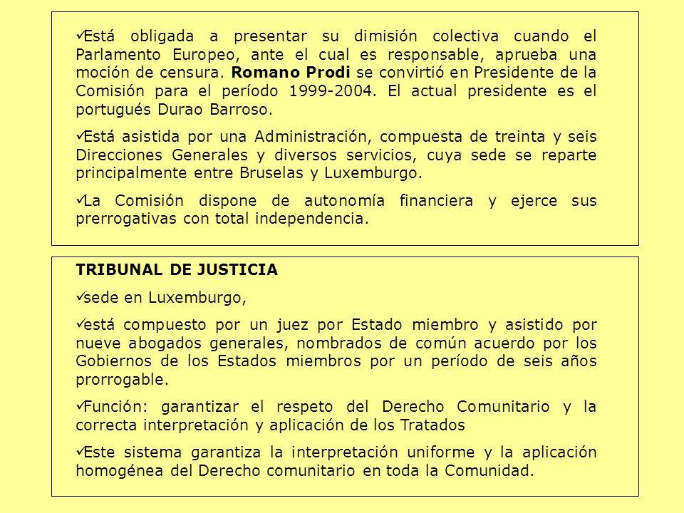 Está obligada a presentar su dimisión colectiva cuando el Parlamento Europeo, ante el cual es responsable, aprueba una moción de censura. Romano Prodi se convirtió en Presidente de la Comisión para el período 1999-2004. El actual presidente es el portugués Durao Barroso.