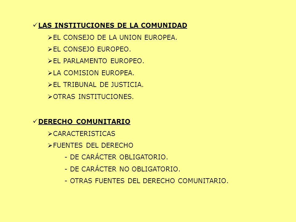 LAS INSTITUCIONES DE LA COMUNIDAD
