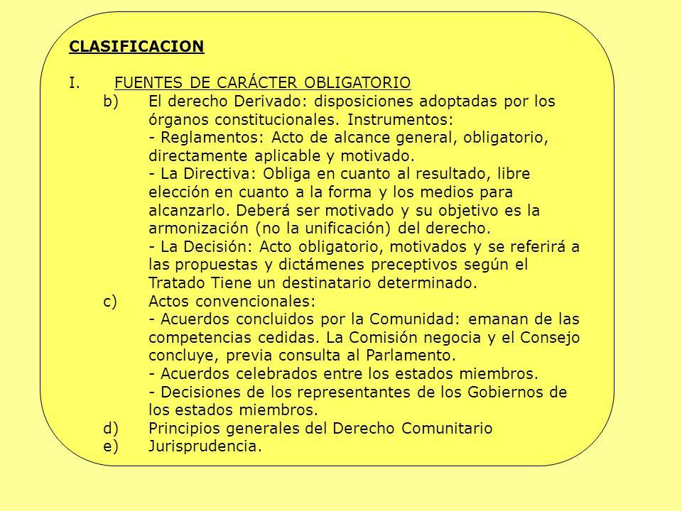 CLASIFICACION FUENTES DE CARÁCTER OBLIGATORIO. El derecho Derivado: disposiciones adoptadas por los órganos constitucionales. Instrumentos: