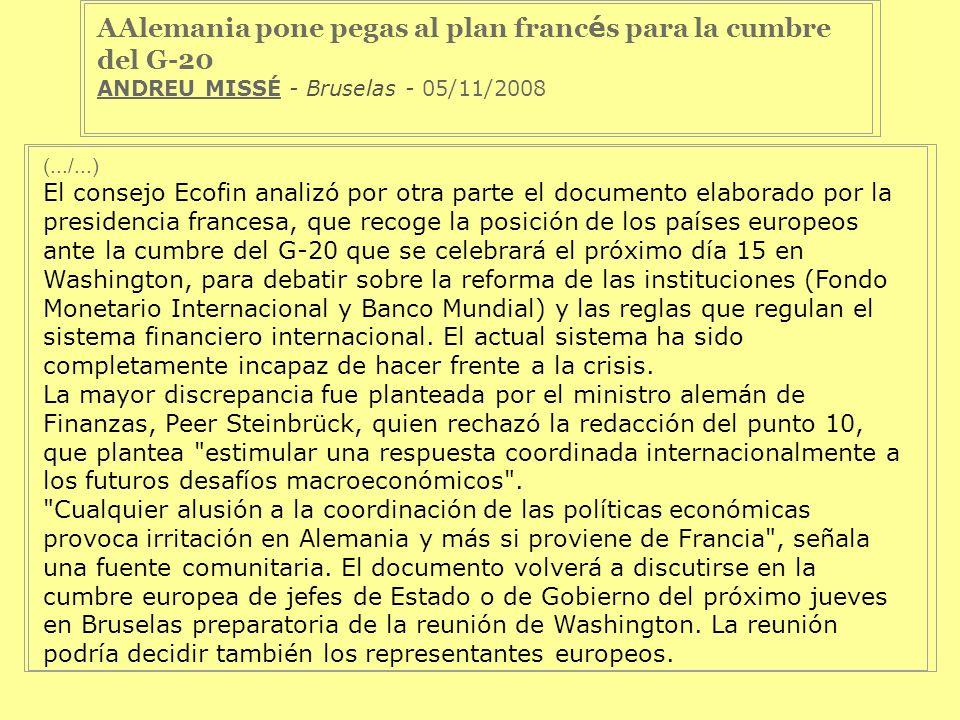 AAlemania pone pegas al plan francés para la cumbre del G-20