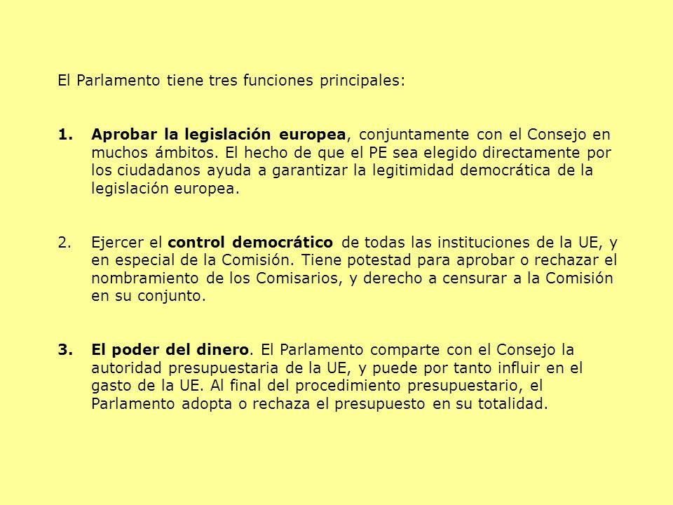 El Parlamento tiene tres funciones principales: