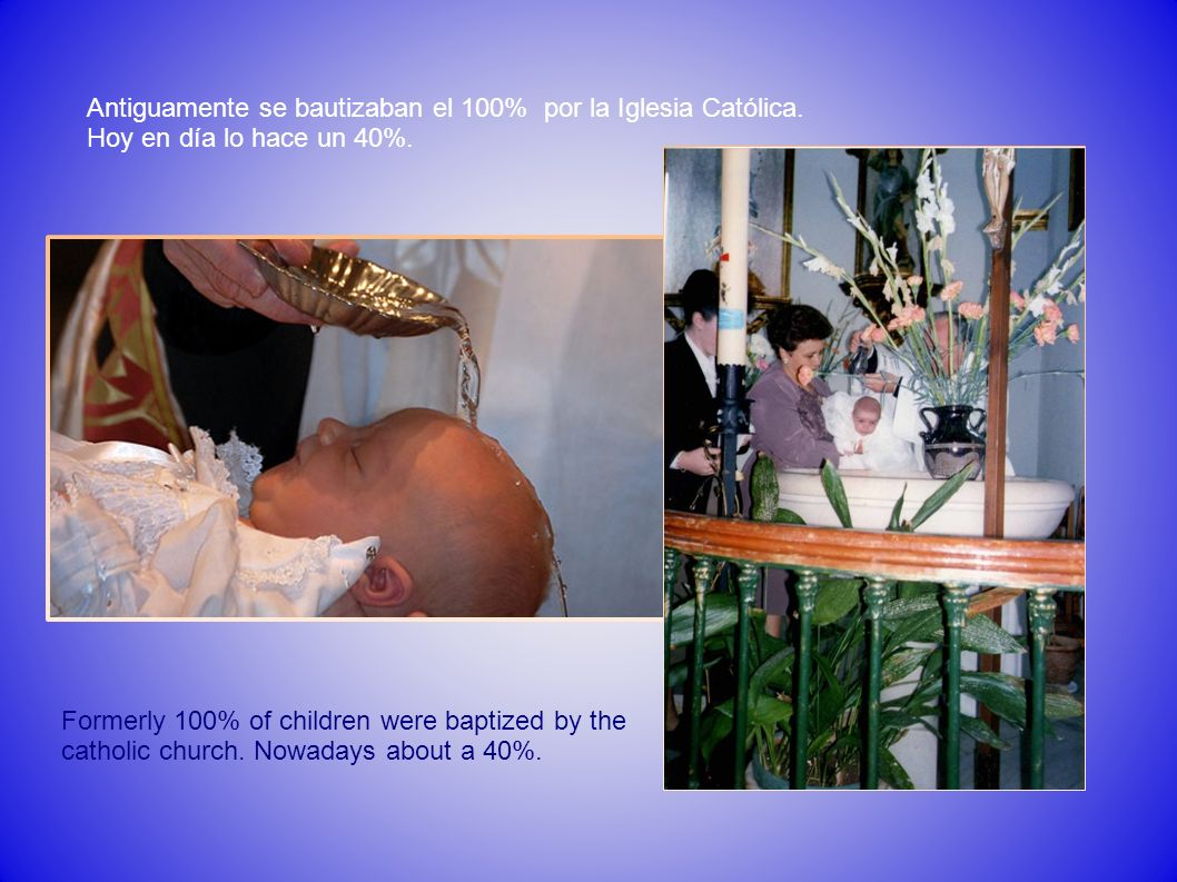 Antiguamente se bautizaban el 100% por la Iglesia Católica.