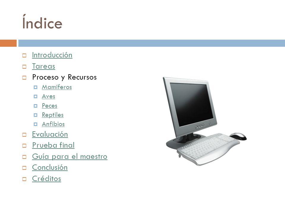 Índice Introducción Tareas Proceso y Recursos Evaluación Prueba final