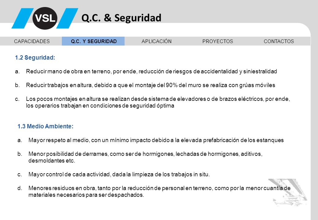Q.C. & Seguridad 1.2 Seguridad: