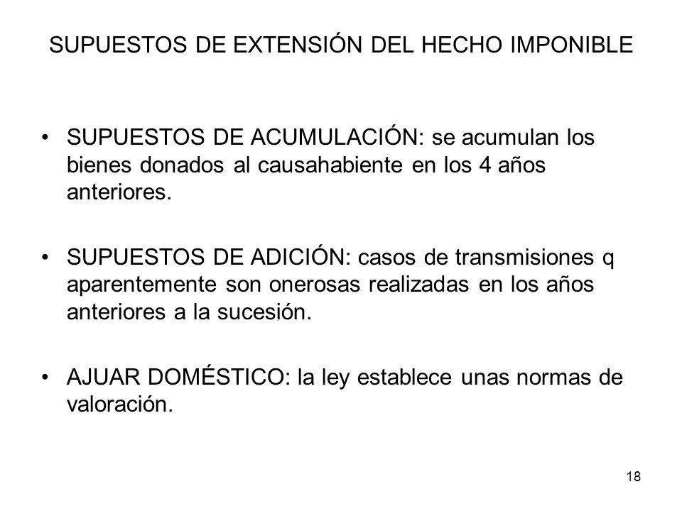 SUPUESTOS DE EXTENSIÓN DEL HECHO IMPONIBLE