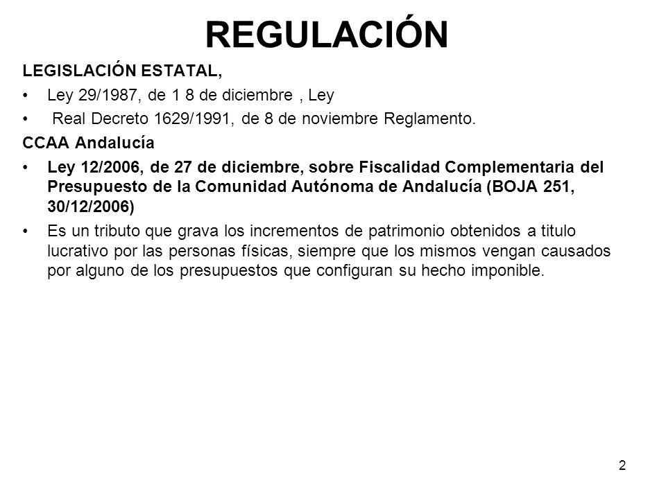 REGULACIÓN LEGISLACIÓN ESTATAL, Ley 29/1987, de 1 8 de diciembre , Ley
