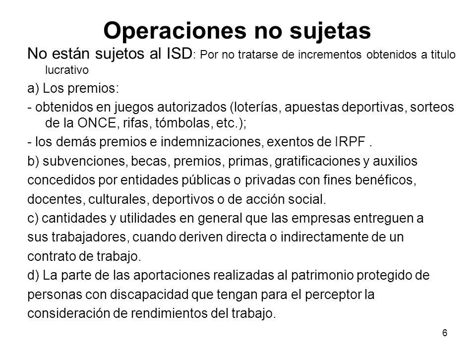 Operaciones no sujetas