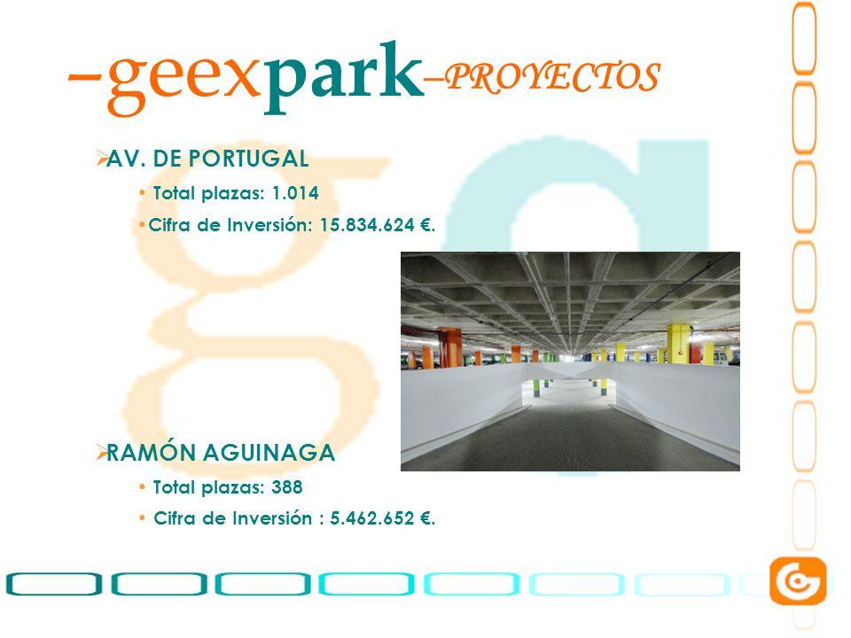 geexpark PROYECTOS AV. DE PORTUGAL RAMÓN AGUINAGA Total plazas: 1.014