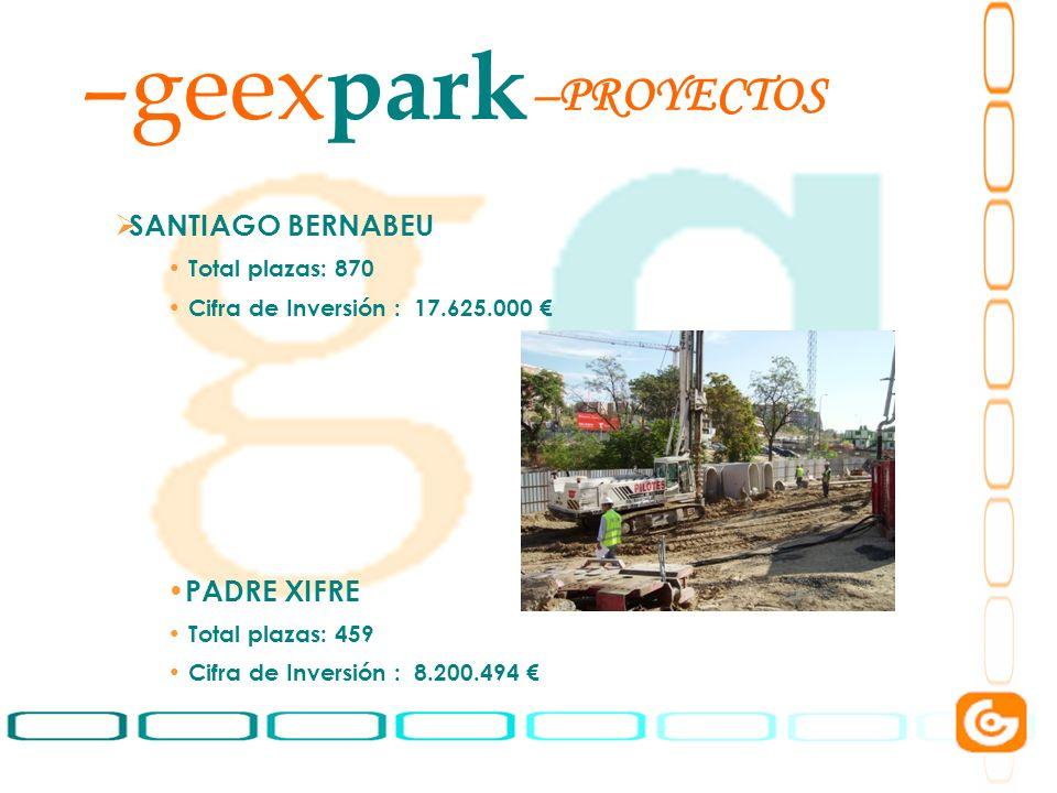 geexpark PROYECTOS SANTIAGO BERNABEU PADRE XIFRE Total plazas: 870