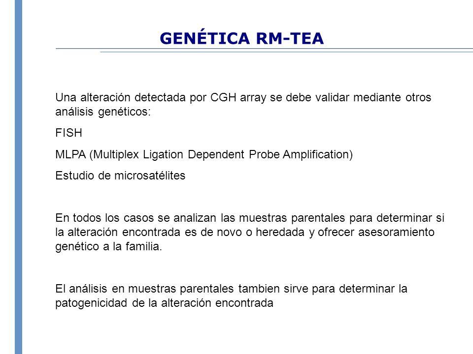 GENÉTICA RM-TEA Una alteración detectada por CGH array se debe validar mediante otros análisis genéticos: