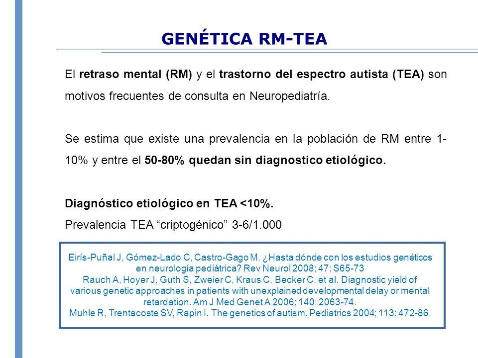 GENÉTICA RM-TEA El retraso mental (RM) y el trastorno del espectro autista (TEA) son motivos frecuentes de consulta en Neuropediatría.