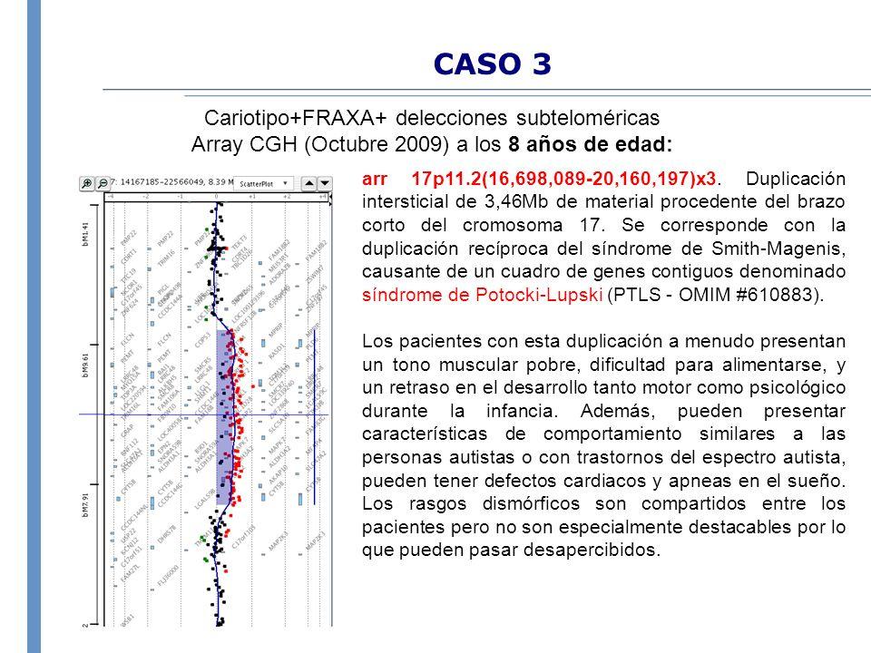 CASO 3 Cariotipo+FRAXA+ delecciones subteloméricas