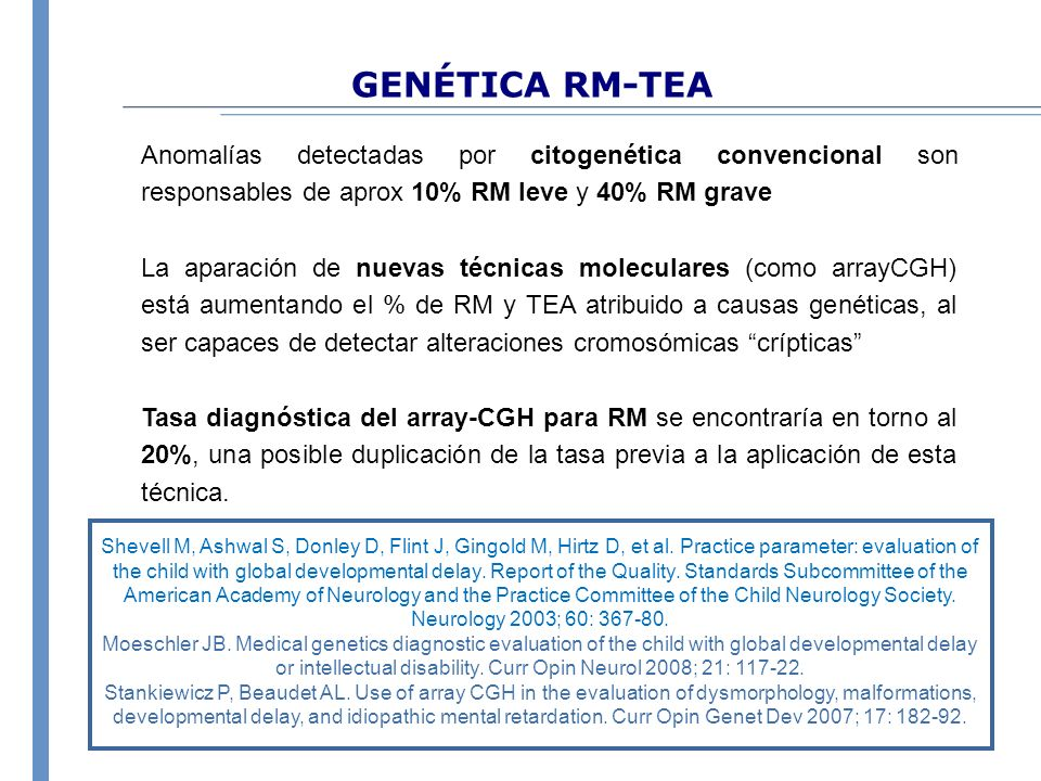 GENÉTICA RM-TEA Anomalías detectadas por citogenética convencional son responsables de aprox 10% RM leve y 40% RM grave.