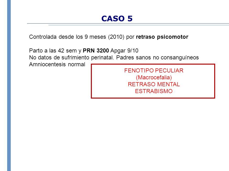 CASO 5 Controlada desde los 9 meses (2010) por retraso psicomotor