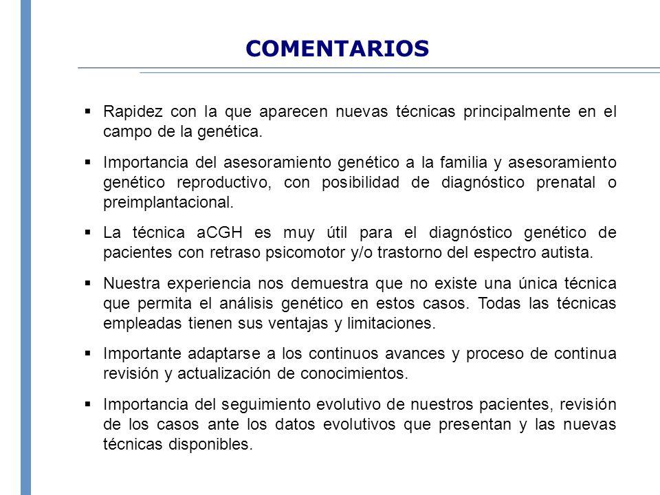 COMENTARIOS Rapidez con la que aparecen nuevas técnicas principalmente en el campo de la genética.