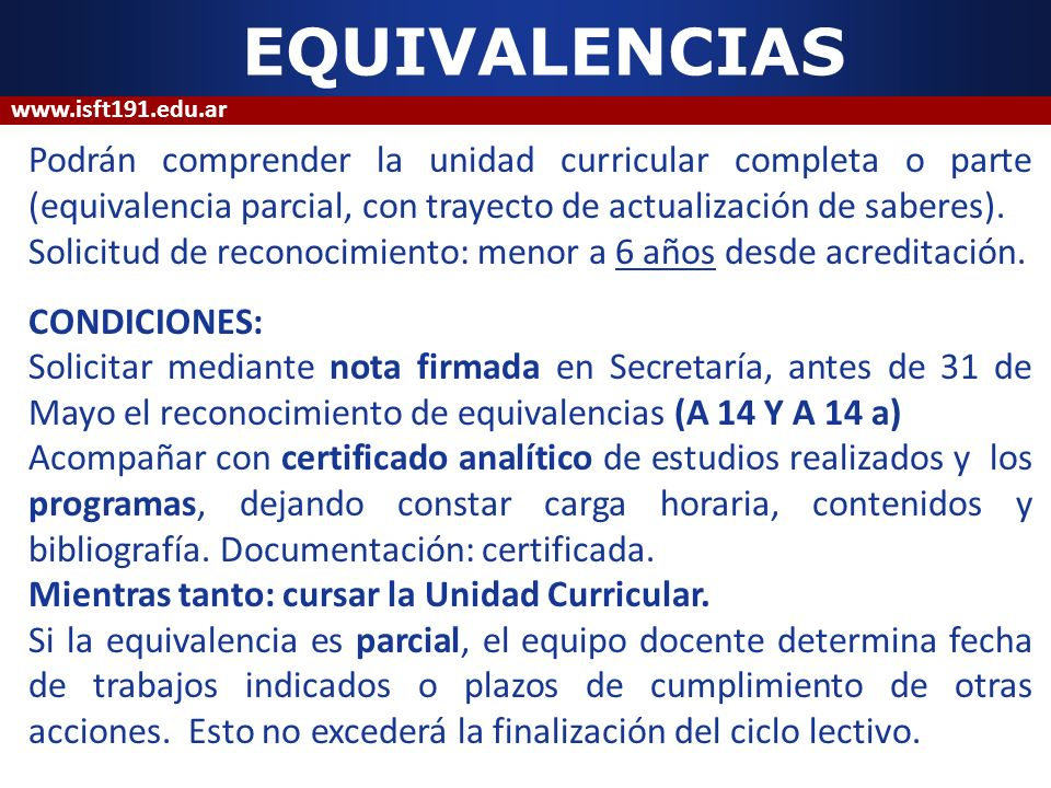 EQUIVALENCIAS www.isft191.edu.ar.