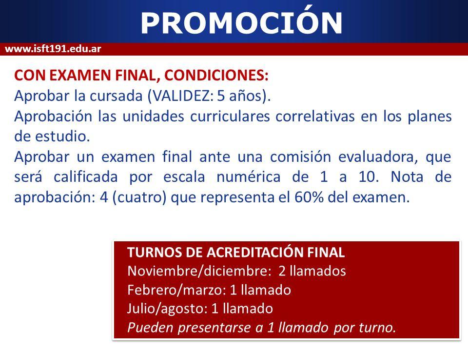 PROMOCIÓN CON EXAMEN FINAL, CONDICIONES: