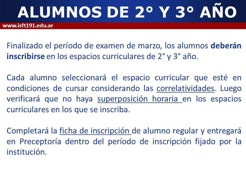 ALUMNOS DE 2° Y 3° AÑO www.isft191.edu.ar.