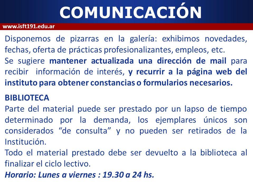 COMUNICACIÓNwww.isft191.edu.ar.